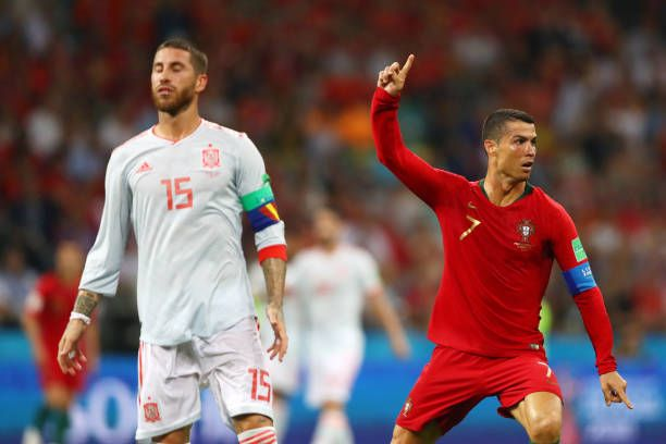 Sergio Ramos Of Spain Looks Dejected As Cristiano Ronaldo Of Portugal Cristiano Ronaldo Ronaldo Cristiano Ronaldo News