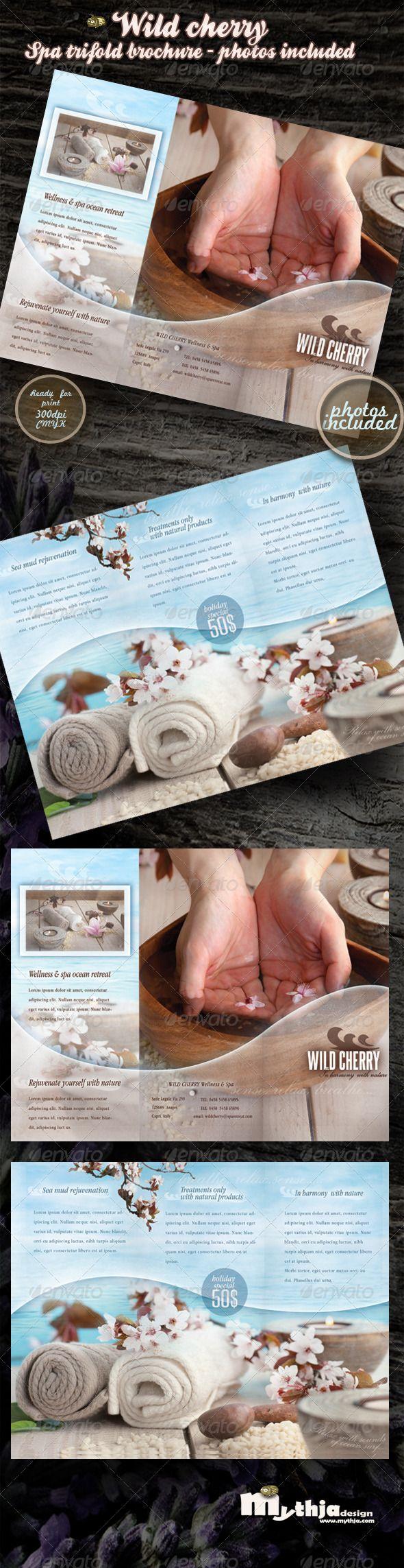 Wild cherry - spa & wellness trifold brochure #GraphicRiver Wild cherry – spa ...