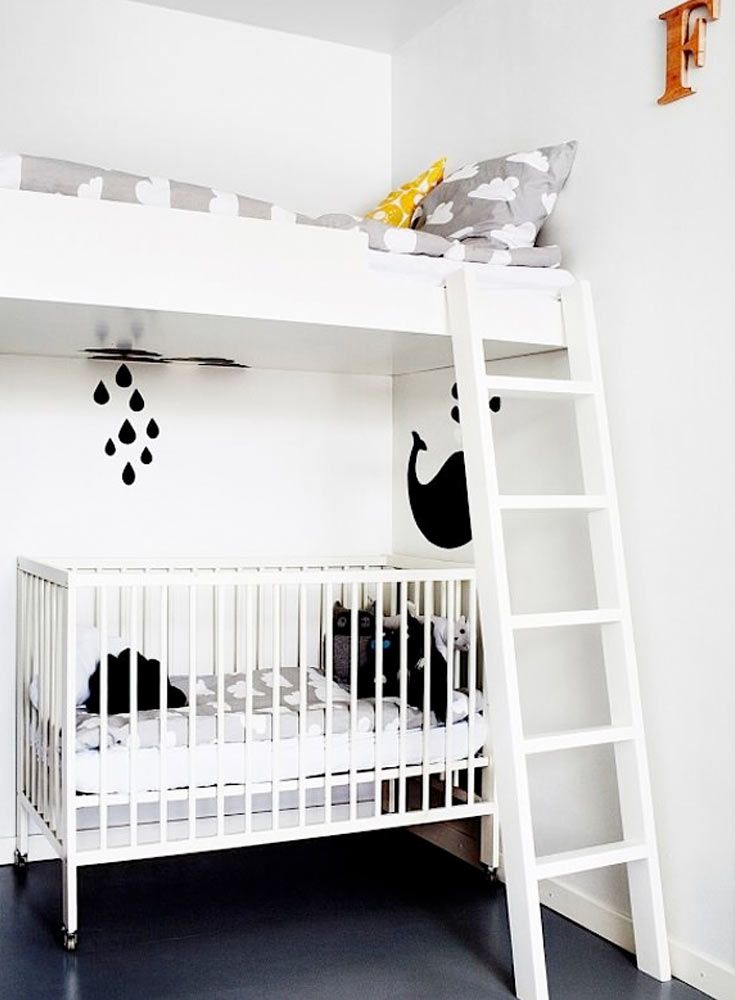 The Only Girl in the House blog compiles her favourite inpsiration for a monochrome kids bedroom and nursery. Black and white nursery, bedroom, boys room, white bunk bed and cot crib for ideal sharing bedroom. interior design