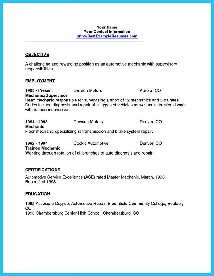 resume objective examples for automotive technician resume