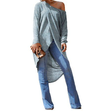 7e62aa5107cda Buy STARVNC Women Long Sleeve Cold Shoulder Overlady Pullover Maxi Shirt at  Walmart.com