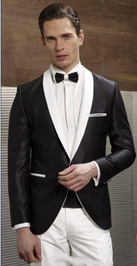 de922644c615 Stay stylish with single button black and white shawl lapel dinner jacket  for men.