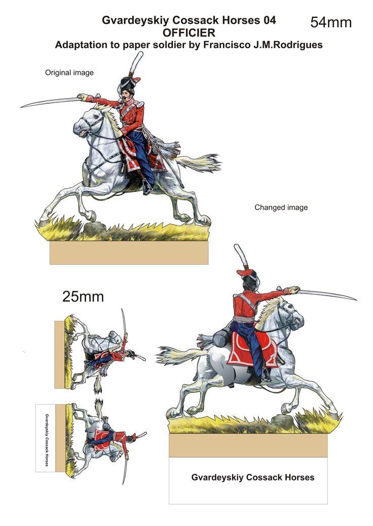 Russian Cavalry Gvardeyskiy Cossack Horses Officier