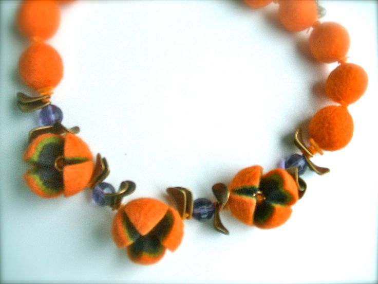 Felted necklace- Orange necklace with brass and  beads - Handmade- OOAK- Felt…