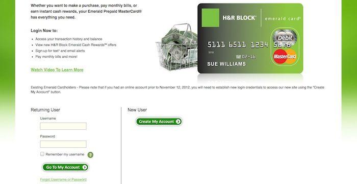 h&r emerald card login