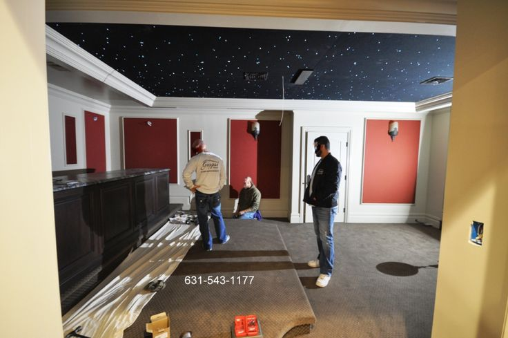 Movie Theater built in private home in Nassau county NY by Gappsi Custom molding designed and installed by Gappsi adds grandness to this cozy home theater room. Gappsi provides all interior home re…
