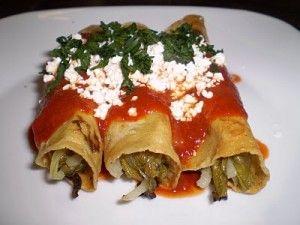 Flautas de nopales: cilantro, queso, salsa, tortillas, nopales, onions.