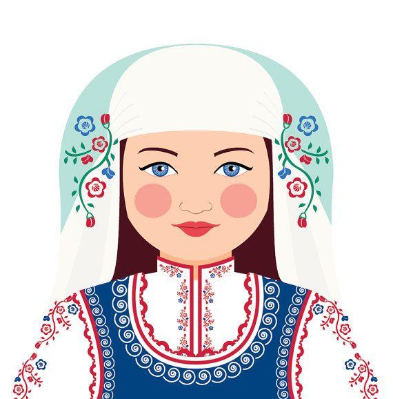 Bulgarian Matryoshka Art Print Kids Wall Art by AmyPerrotti