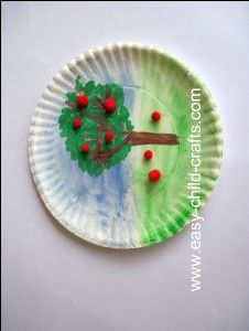 use for color wheel designs: watercolor apple tree...could do this during unit on apples or the 4 seasons (create 4 plates, decorating tree for each season). K-1 lesson.
