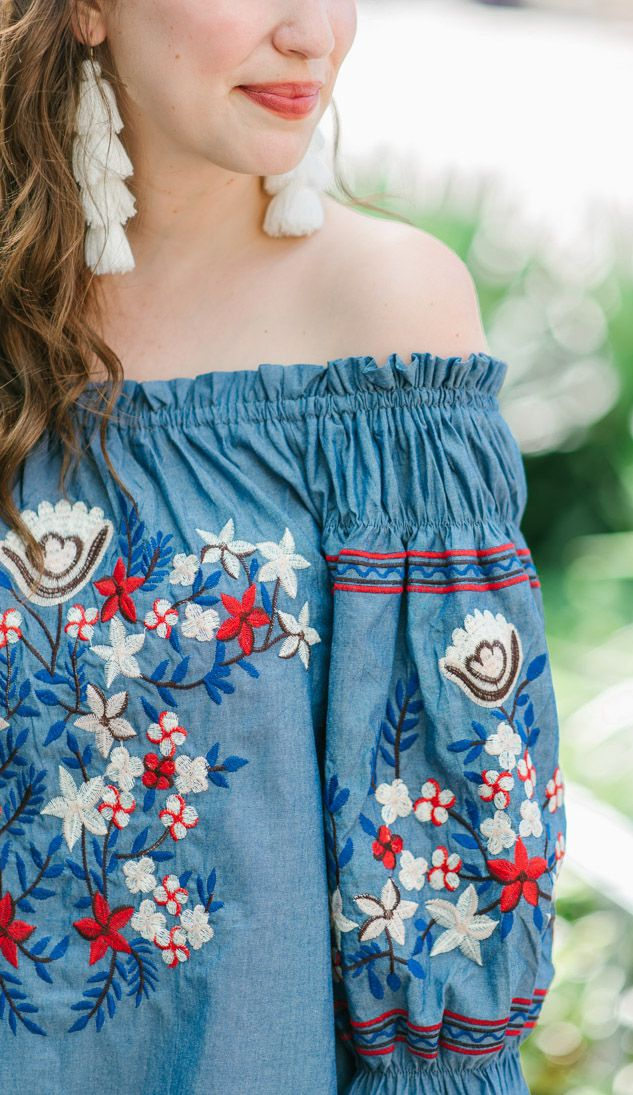 4th of July Outfit - Red, White & Blue Off the Shoulder Dress