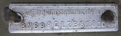 1973 Holden HQ Monaro GTS 4-door Vehicle Identification Plate