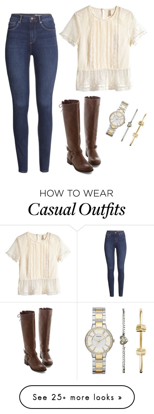 """Church casual"" by the-preppy-mermaid on Polyvore featuring H&M and FOSSIL"