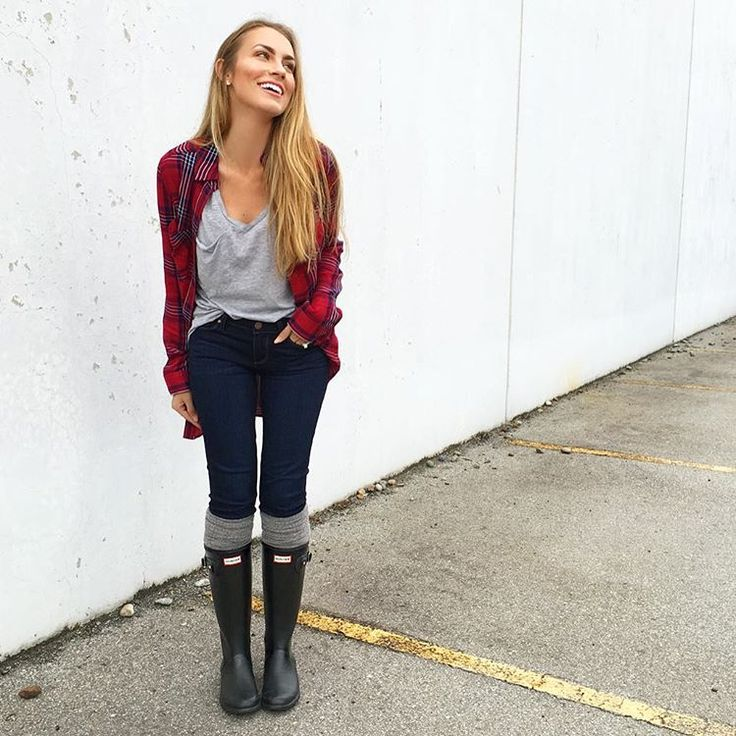 $24 comfy grey pocket tee shirt, dark skinny jeans, red flannel plaid shirt, grey over-the-knee socks, black hunter boots - wellies. #HelloGorgeous