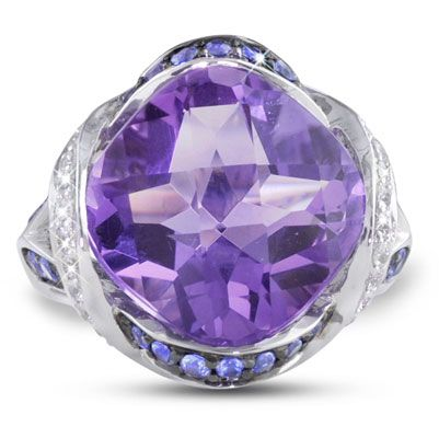 "Moi Moi Fine Jewellery - PARIS A   ""Paris A"" Ring Split shank, semi channel set 12mm x 12mm Cushion Amethyst, 10.02cts 30 x Blue Sapphires, 1.11tcw 40 x White Sapphires, 0.50tcw"