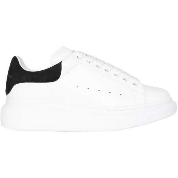 Alexander McQueen Oversized leather sneakers (€395) ❤ liked on Polyvore featuring shoes, sneakers, white, white leather trainers, rubber sole shoes, alexander mcqueen sneakers, white leather shoes and leather sneakers