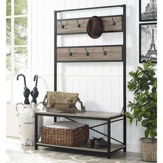 """72"""" Industrial Metal and Wood Hall Tree - Driftwood - Prices, Reviews & Deals - 20507981 - Mobile"""