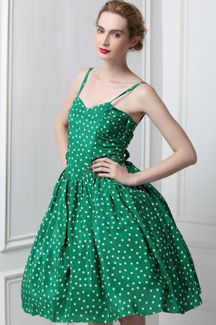White Dots Green Braces Skirt