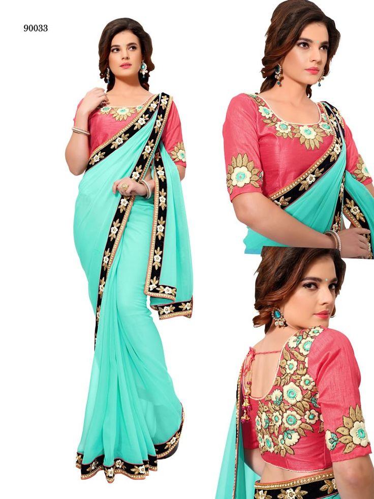 buy saree online Designer Sky Blue Colour Gerogget Banglori Silk Lehenga Saree Buy Saree online - Buy Sarees online