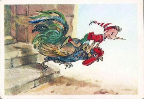 Pinocchio and cock  Postcard Vintage Illustration by LucyMarket