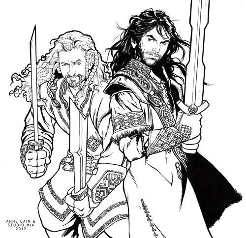anne cain studio mia kili fili sketch - Hobbit Dwarves Coloring Pages