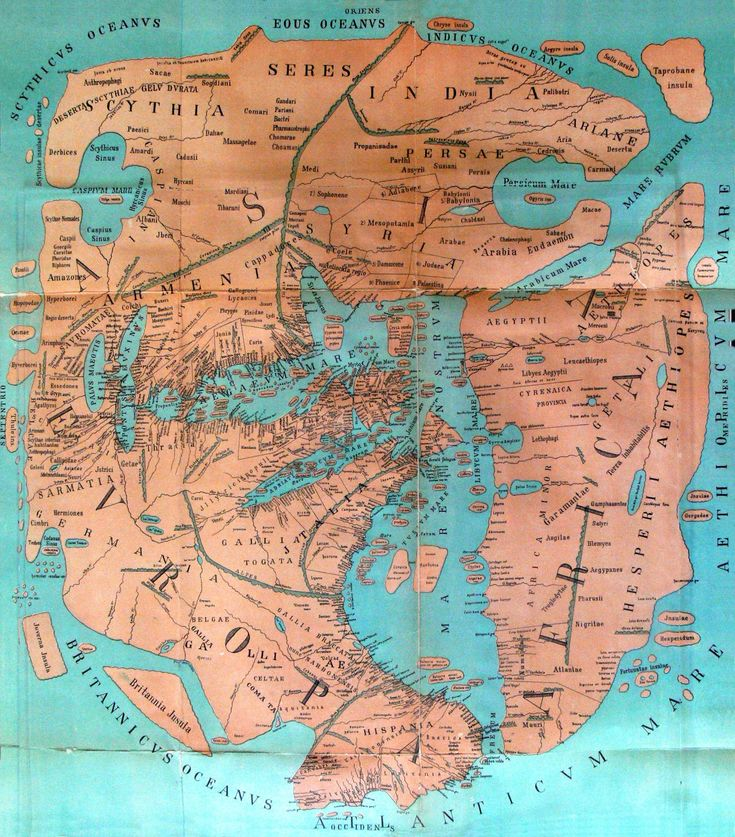 a map of the known world reconstructed from the writings of Roman geographer Pomponius Mela c.43 A.D. ~ Dr. Konrad Miller