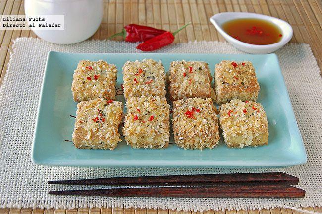 Receta de bocados de tofu crujiente con sésamo. Con fotografías del paso a paso, consejos y sugerencias de degustación. Recetas vegetarianas. Co...
