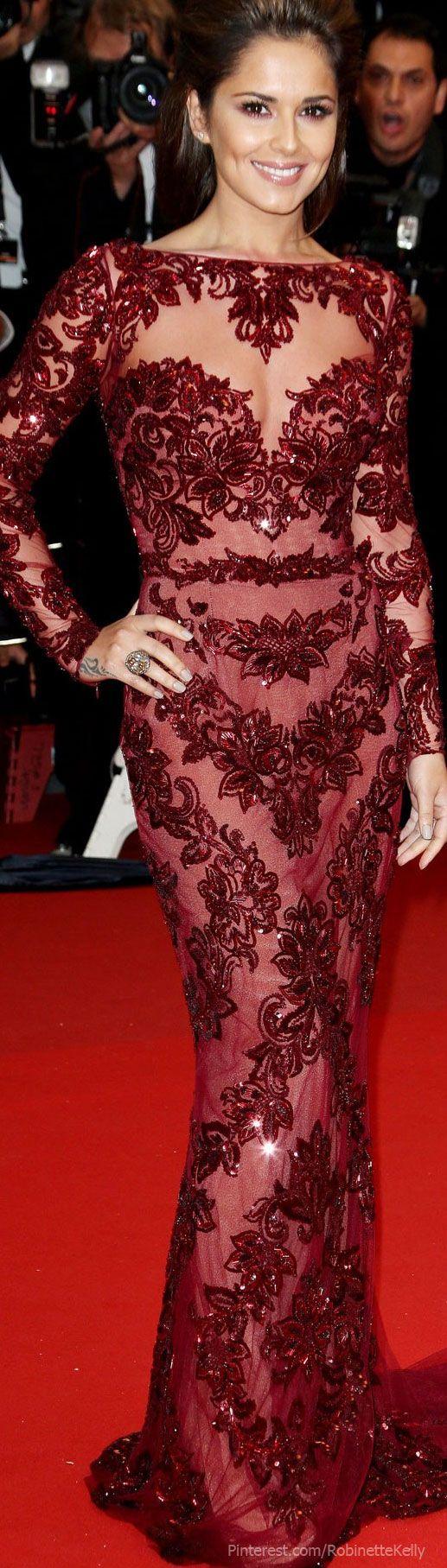 Rosamaria G Frangini | Burgundy Desire |  VIPBlackOrchidClub | Cheryl Cole, Zuhair Murad Burgundy* Dress | Cannes Film Festival LBV
