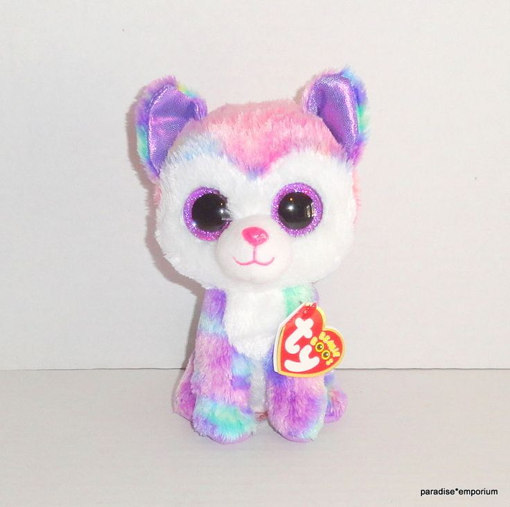 """New TY Beanie Boos 6"""" Izabelle Plush Husky Puppy Dog Claires Exclusive P80 #Tybeanieboos"""