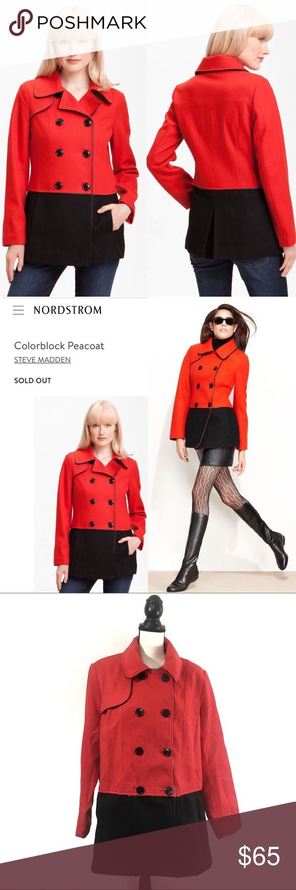 """Steve Madden Color-block Red Black Peacoat Jacket Size: 1X Women's • SOLD OUT  A wool-blend peacoat gets a graphic update in a sharp combination of paprika and black. Patent piping adds a polished finish to the double-breasted style. * Gunflap. * On-seam front pockets. * Back inverted pleat. * Approx. length from shoulder: 30"""". * Fully lined. * Wool/polyester; dry clean. * By Steve Madden; imported.  Dimensions: * Length 31.5"""" * Waist 26"""" * Hips 50"""" * Bust 29"""" * Sleeve 25""""  Condition:  Nice…"""