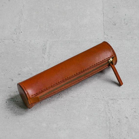Brown handmade cylinder leather Pencil Case/Pen Pouch