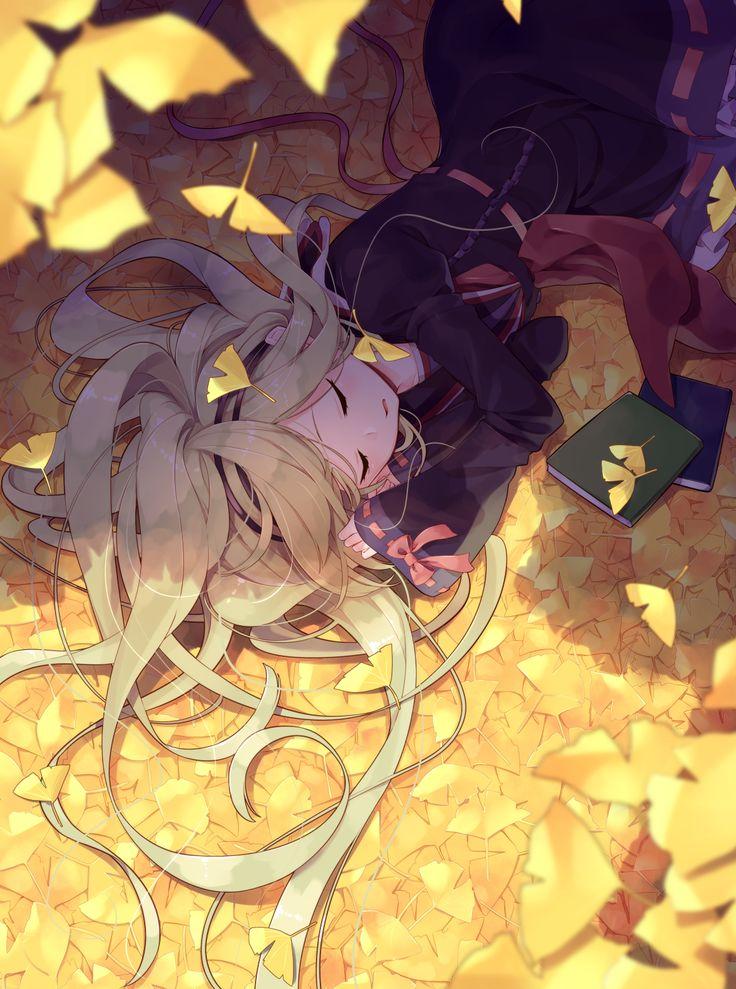 Аниме картинка 1160x1560 с  оригинальное изображение sakuragi ren длинные волосы single высокое изображение открытый рот светлые волосы закрытые глаза лёжа спит девушка платье повязка на волосы книга (книги) лист (листья) осенние листья дерево гинко