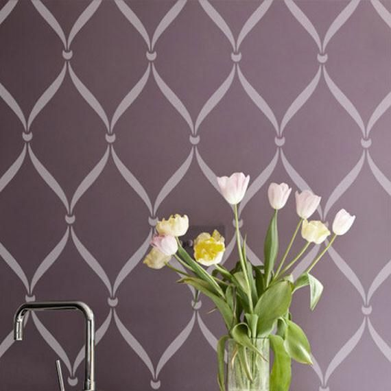 ribbon lattice wall stencil - Design Stencils For Walls