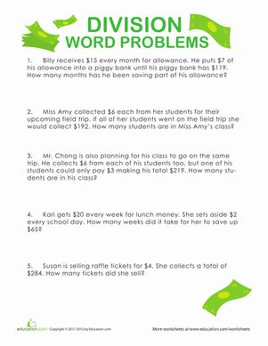Division Word Problems Show Me The Money Word Problems