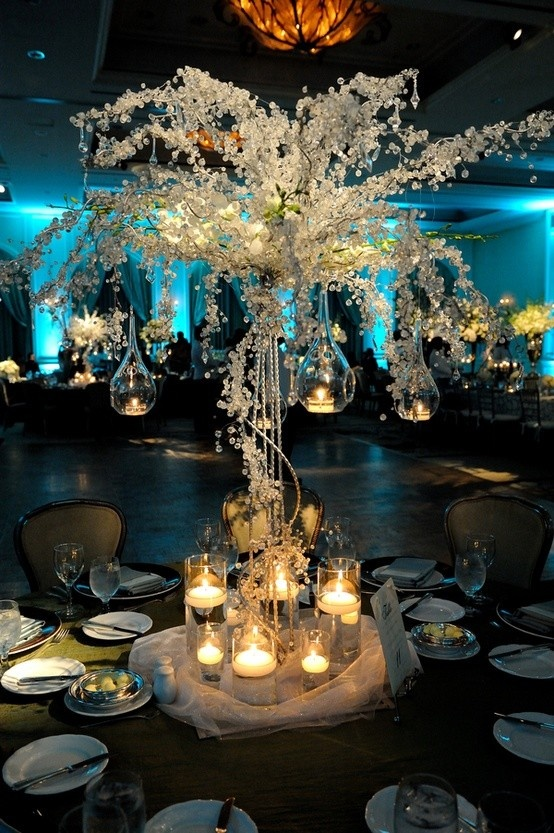 Beaded crystal trees are still very stunning. An easy dramatic centerpiece.