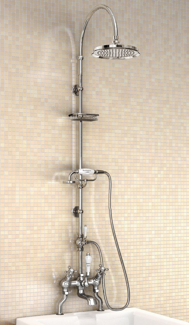 Angled Deck Mounted Bath Shower Mixer With Rigid Riser And Curved Arm