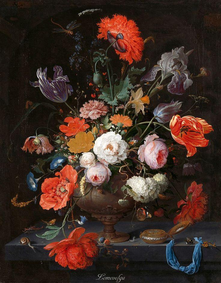 Абрахам Миньон (1640–1679) Натюрморт с цветами и часами (Stilleven met bloemen en een horloge) 1660-1679, холст, масло Рейксмузеум, Амстердам