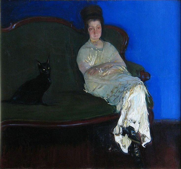 Konrad Krzyżanowski <em>Portret żony z kotem</em> | 1912 <br> (olej na płótnie 114 × 124 cm, Muzeum Śląska Opolskiego w Opolu