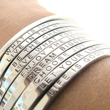 mantraBAND.  I Want like 10 just like this to make a long awesome quote! I'd wear them every day. <3