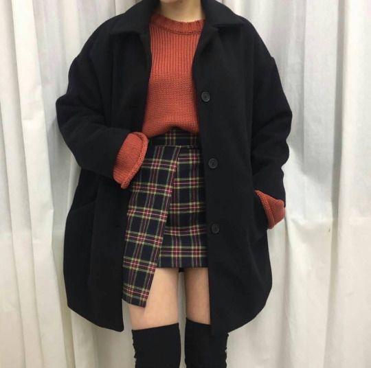 Korean fashion - red sweater, plaid skirt, black coat and black knee high socks