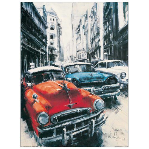 'Havana Vintage Classic Cars II' by Massa Art Print Castleton Home