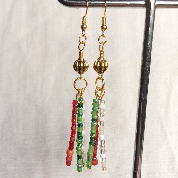 Christmas earrings red white green gold . made in by terramor