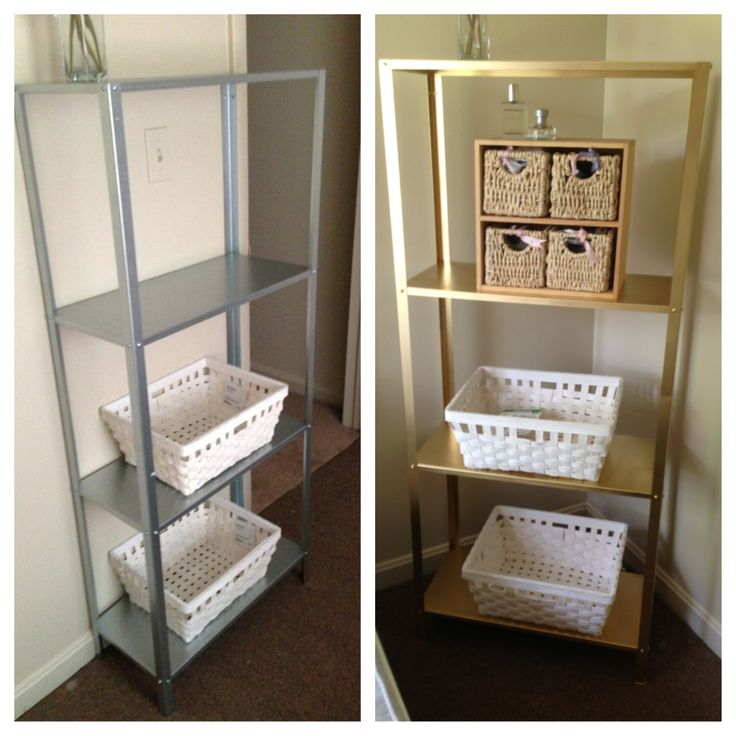 Ikea hacks, Hyllis shelving unit! Looks so pretty in my new apartment! Just spray painted it gold $15.