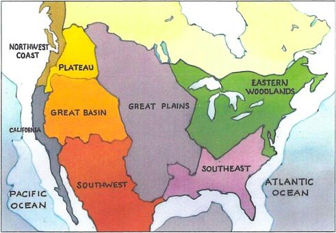 Study a map that list the eight cultural regions of Native Americans