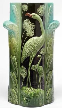 Majolica Pottery; Umbrella Stand, Flamingos & Papyrus Leaves, Green Ground, 24 inch.