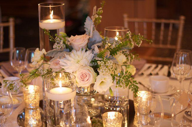 floating candle mirror centrepiece soft pink flowers