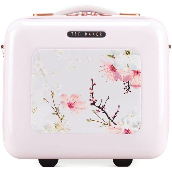 Ted Baker Oriental Blossom Vanity Case (350 CAD) ❤ liked on Polyvore featuring beauty products, beauty accessories, bags & cases, pink and ted baker