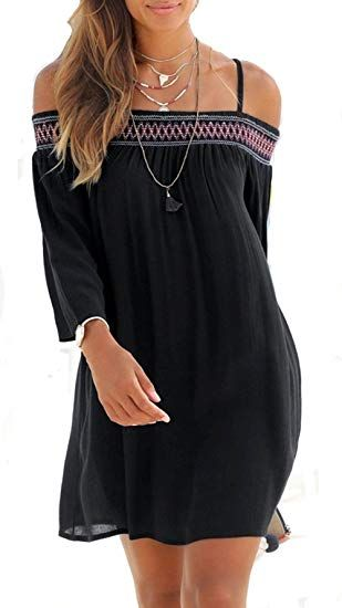 33422806f5f Womens Summer Casual Ethnic Embroidered Bohemian 3 4 Sleeve Sundress Beach  Dress categories spring casual dress