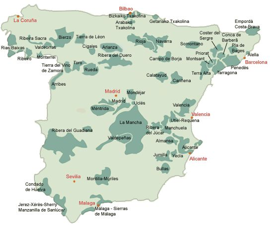 Lovely, simple map of Spain's wine regions.