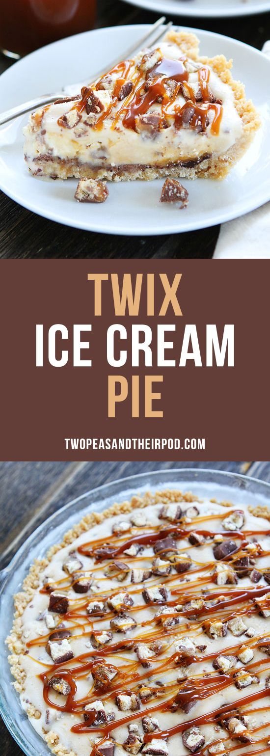 Twix Ice Cream Pie-shortbread cookie crust with a layer of chocolate, vanilla ice cream, chopped Twix candy bars, and salted caramel sauce. This ice cream pie is a favorite summer dessert.