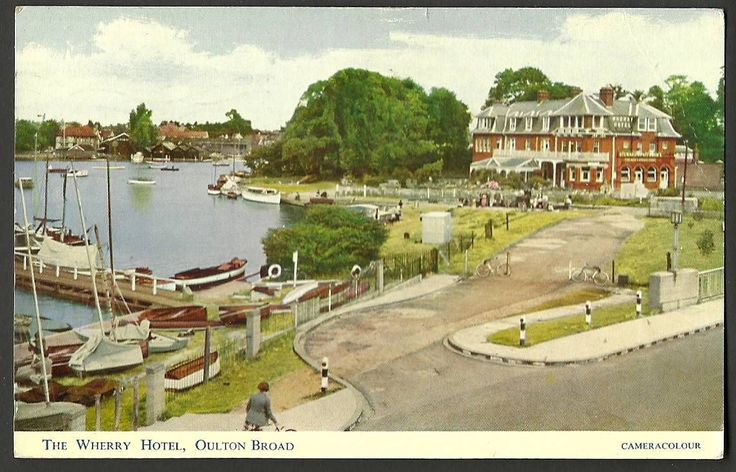 From a scan of my postcard Oulton Broad, The bridge approach looking from south to north, with the Werry hotel in the background, and Nicholas Everrit Park to the left